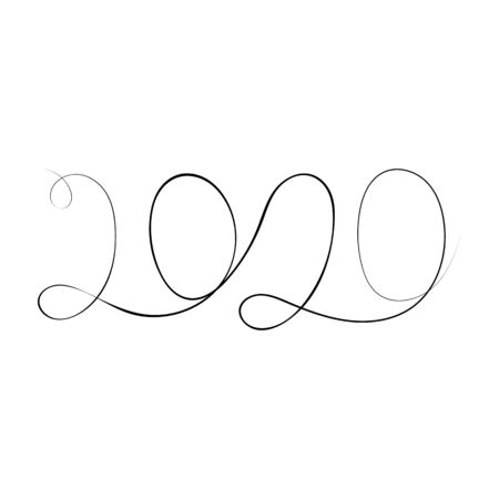 2020 One continuous line drawing isolated on white background.. Vector illustration. Stock Illustratie