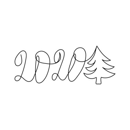 2020 and Christmas tree drawn with one black continuous line isolated on white background.. Minimalism sketch hand drawn decoration. Vector illustration. Stock Illustratie