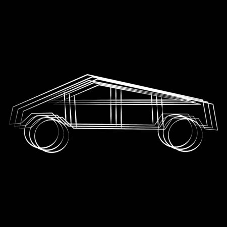 Cybertruck. Electric battery-powered light commercial vehicle with polygonal body style. Car silhouette made with whites line on black background. Stock vector illustration.