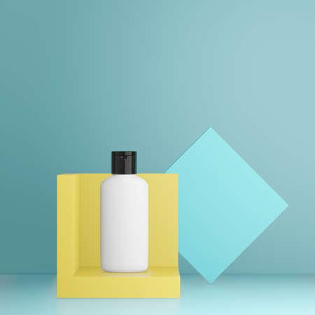 Plastic bottle on podium stage, mock up for product presentation on showroom platform. 3D render.