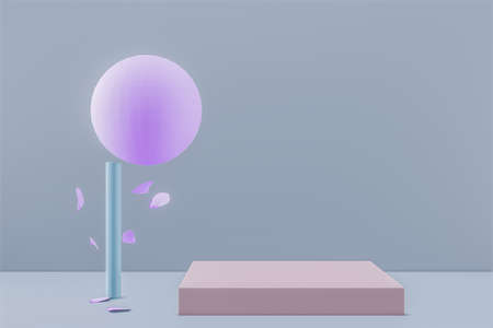 Abstract pink tree with falling leaves and square podium. 3D render. 스톡 콘텐츠