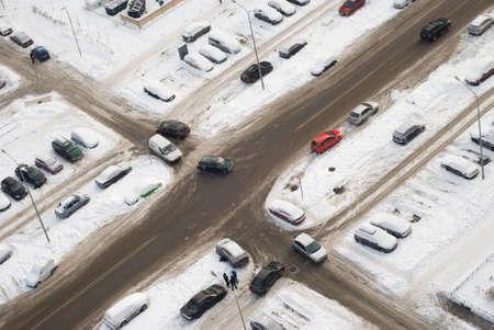 cruce de caminos: El cruce de invierno en la zona residencial