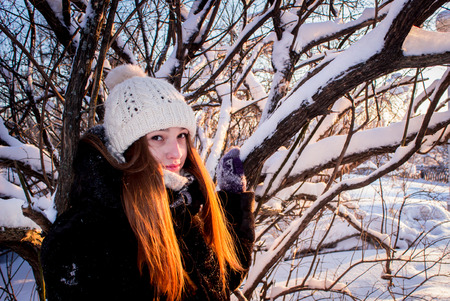 frosty morning: Beautiful girl smiling frosty morning, North, Arkhangelsk Stock Photo