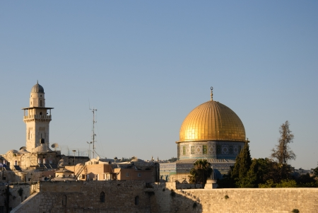 The wailing wall and mousque of Al-aqsa  Dome of the Rock  photo