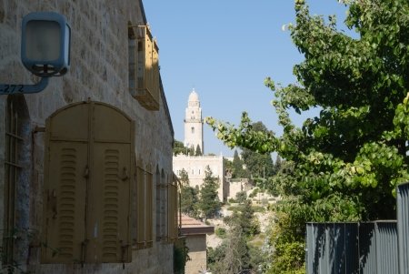 view of Church Of Dormition And Bell-Tower On Mount Zion from old house photo