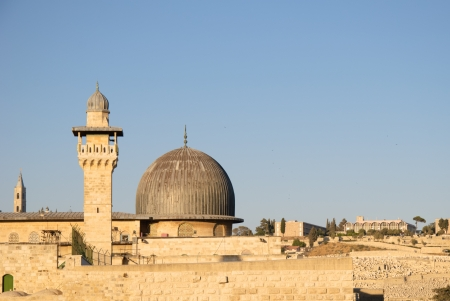 The tower of Al-Aqsa Mosque in Old City of Jerusalem, Israel photo