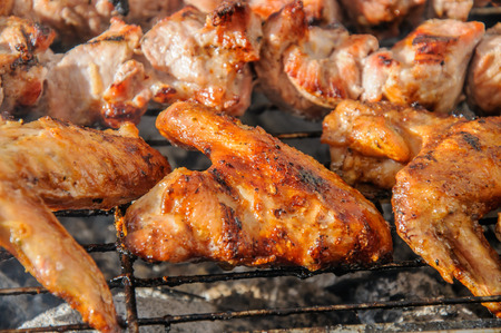 broiling: Chiken wings  and Juicy roasted  shish kebabs and  on the barbecue