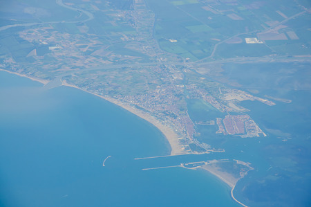 Italy skyline, view from a flying airplane photo