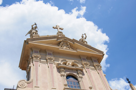 Facede of church in Como city, Lombardy, Italy photo