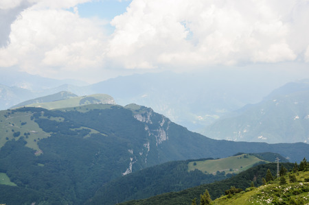 Panoramic view of mountain landscape of Italian Alps - Monte Baldo Stock Photo