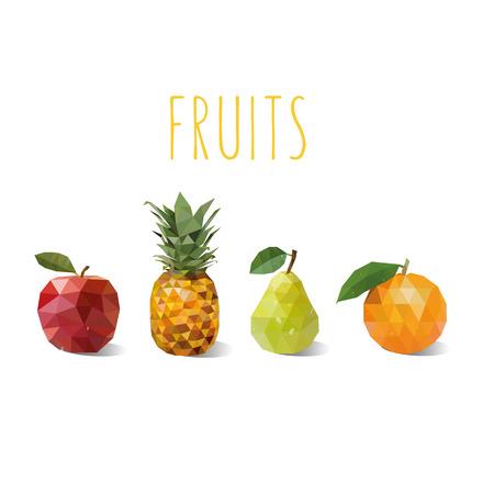 Fruit Low-poly style. Apple, pineapple, orange, pear. Polygon fruit. Set of polygonal fruit.Vector illustration Illustration