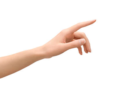 a woman's hand points to something with her index finger. cut out