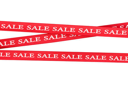 red ribbons with inscription sale on isolated white background Banco de Imagens