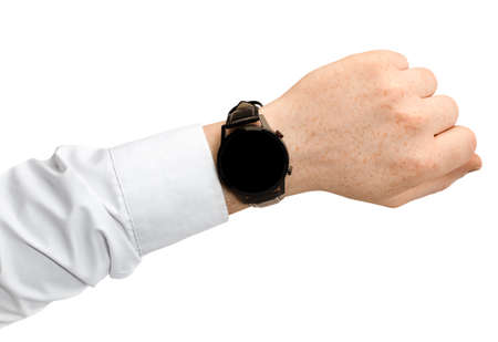 smart watch on a man's hand in a shirt on an isolated white background Reklamní fotografie