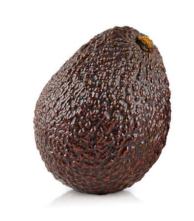 one fresh haas avocado on white isolated background
