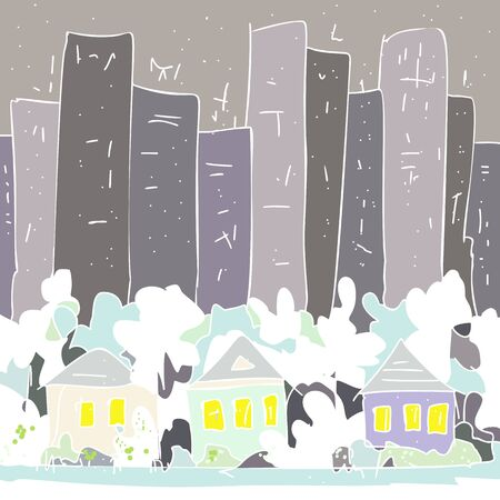 Vector background hand drawn illustration like a childs drawing. Winter city landscape country houses and trees in white snow against the gray stone jungle and gloomy sky for card, print, cover page, 일러스트