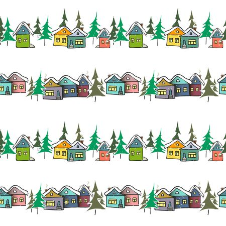 Vector seamless pattern hand drawn gingerbread multicolored houses on a white background for bedding, textile, wallpaper, wrapping, cover page, web site, card, carton, typographic print, fabric.