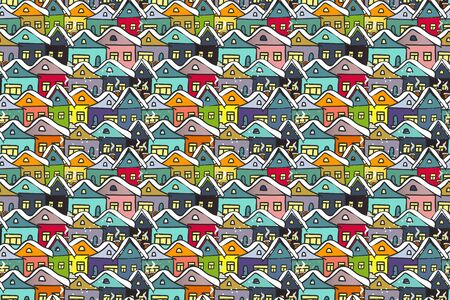 Vector seamless pattern winter cityscape many hand drawn multicolored houses. Background for textile, wrapping, cover page, card, typographic print, banner. 矢量图像