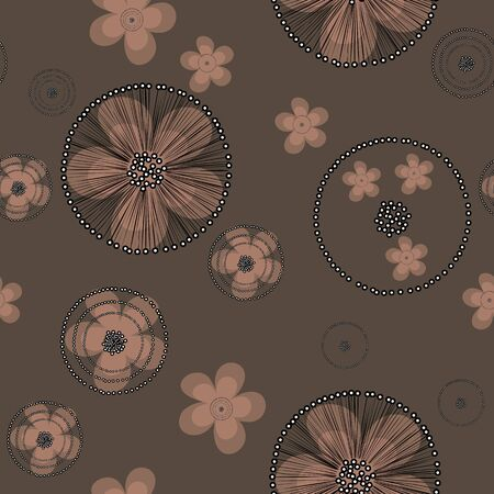 Floral art vector seamless pattern. Hand drawn beige buttercup flowers with black web on brown background for textile, wallpaper, wrapping, cover, carton, print, banner, ceramics.