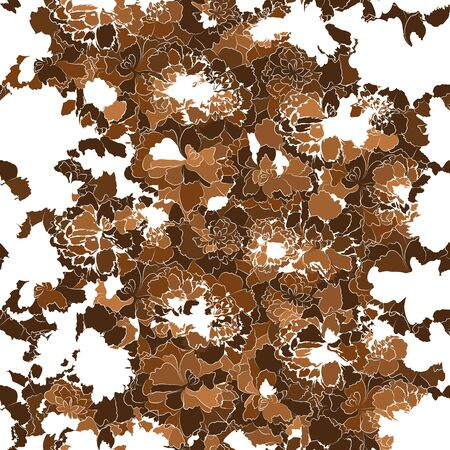 Abstract art nature backdrop. Brown colored floral vector seamless pattern. Silhouettes of abstract flowers on white background. Ornate organic template for design, textile, wallpaper, banner, border 向量圖像