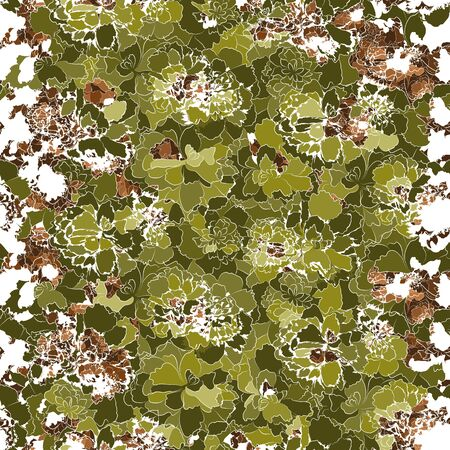 Abstract nature background. Floral vector seamless pattern. Silhouettes of green and brown flowers. Ornate natural backdrop. Bright organic template for design, textile, wallpaper, banner. 向量圖像