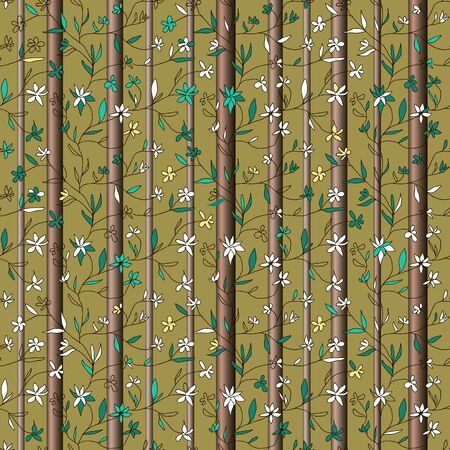 Beautiful vector seamless pattern. Hand drawn small flowers on branches with leaves and tree trunks on olive background. Template for textile, wallpaper, cover, web, card, carton, banner.