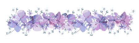 Decorative Floral border with purple flowers with buds and small light blue florets on white background. Isolated festive Floral vector design element for decoration. Ilustração Vetorial