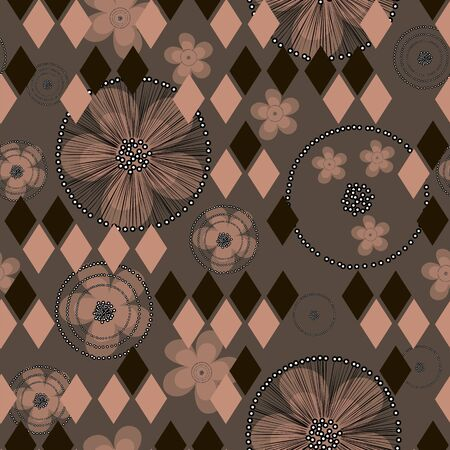Composite geometric and floral vector seamless pattern. Hand drawn buttercup flowers and rhombuses on brown background for textile, wallpaper, wrapping, cover, web, carton, print, banner, ceramics.