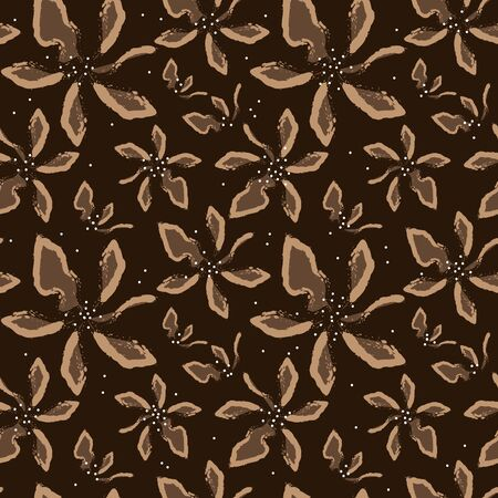 Vector seamless pattern. Abstract art beige flowers on a brown background for bedding, textile, wallpaper, wrapping, cover page, web site, card, carton, print, fabric, banner.