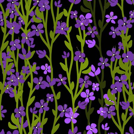 Night meadow floral vector seamless pattern. Many small small purple violets, green stalks and leaves on black background. Cute hand drawn garden template for design, home decor, wallpaper, textile.