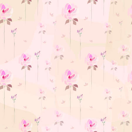 Vector seamless pattern. Hand drawn pink roses flowers on peachy background like watercolor painting. Template for textile, wallpaper, wrapping, cover, web, card, carton, print, banner, ceramics.