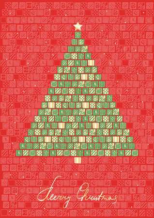 Abstract doodle art christmas tree from Hand drawn green and gold patterned squares on red background. Vector Vintage greeting card. Design template for sale flyer, festive banner.