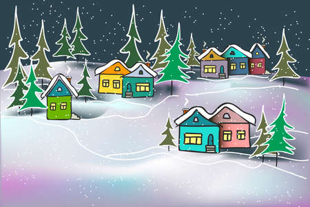 Vector background illustration cute cozy night winter landscape caramel multicolored houses and firs in snow drifts for card, typographic print, cover page, web site, banner.  イラスト・ベクター素材