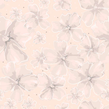 Softness floral vector seamless pattern. Abstract different size gray and pink flowers in white contour on coral background. Ornate template for design, textile, wallpaper, carton, ceramic tile, card. Ilustração