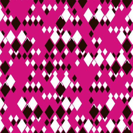 Geometric vector seamless pattern. Different size black and white rhombuses on bright pink background. Template for trendy textile, wallpaper, print, web, card, carton, banner, clothing. 向量圖像