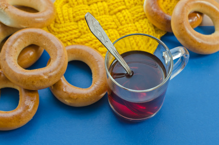 boublik: Bagels and tea: traditional Russian food. Stock Photo