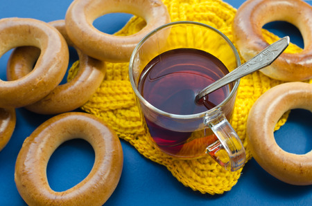 Bagels and tea: traditional Russian food. photo