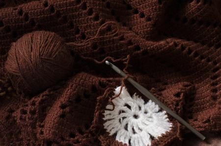skein: Crochet brown wool yarn. Skein of yarn and crochet hook.