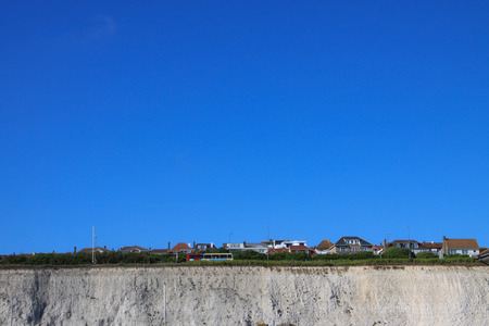 The panaramic view of the English Coast with white cliffes and cottages Stock Photo