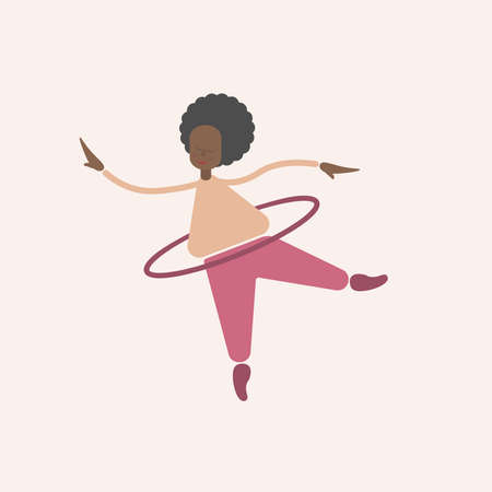 Cute fat curly africana woman twists a hoop. The body is positive, I love my body. Sport and yoga at home. Illustration for design flat cartoon style.