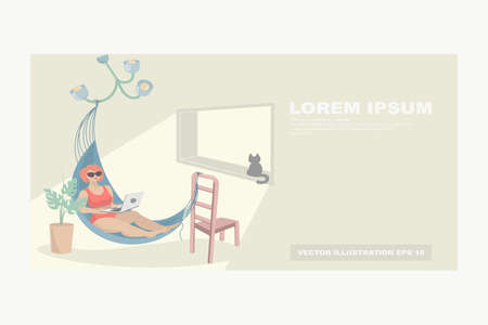 A woman in a hammock with a laptop is resting and working in an apartment. Vacation at home. The concept of work at home, home rest, quarantine, online training. Vector illustration with copy space. Illustration