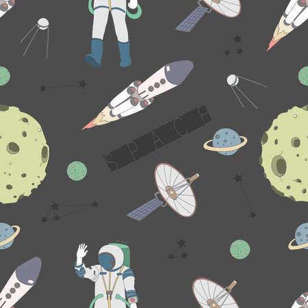 Vector pattern space concept. Astronaut, rocket, moon, planet, stars Vettoriali