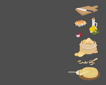 Vector background with copy place. Spanish potato omelette ingredients - tortilla de patata. Olive oil, onions, potatoes, eggs, cutting board and knife. 矢量图像