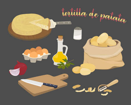 Spanish potato omelette ingredients - tortilla de patata. Olive oil, onions, potatoes, eggs, cutting board and knife. Vector illustration on a black background. 矢量图像