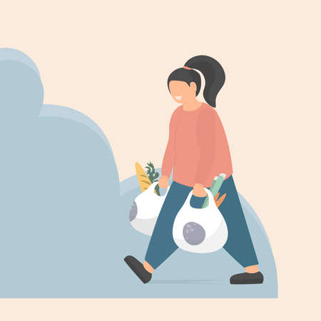 Smiling woman carries plastic bags with groceries. Shopping food from the supermarket. Vector flat style illustration.