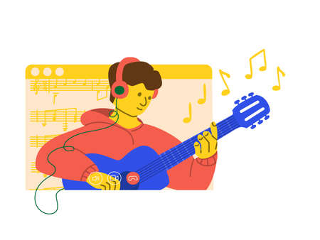 Online concert. Man plays the guitar in stream on social networks. The musician's performance in quarantine. Learning to play the guitar by video call. Distance education concept. Vector illustration