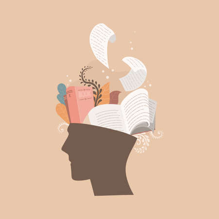 Human head with books inside. Book lover, knowledge and education concept. Vector color illustration isolated on beige background. Great for book exhibitions, shops, booklets.