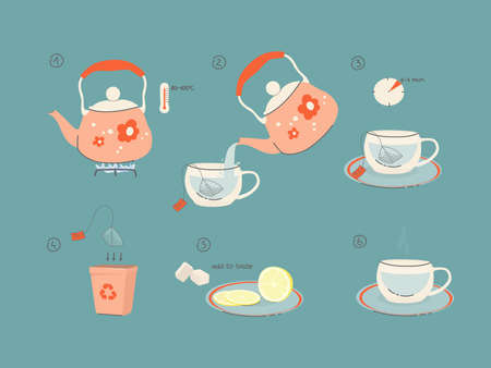 Instructions for brewing tea. How to make tea. Tips for making a tea bag. Illustration of a kettle with hot water, lemon, refined sugar. Vector color illustration for packaging, design. eps 10