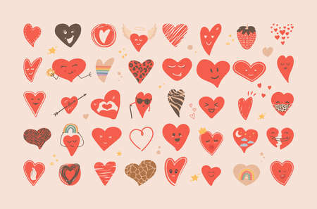 Set of hand drawn heart stickers. Various hearts, stars, elements. Great for printing, staples, icons, designs. Concept for love, wedding, valentine's day, february 14. Vector flat illustration.