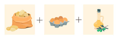 Potatoes plus eggs plus olive oil. Vector illustration of a step by step recipe. Spanish potato omelet.